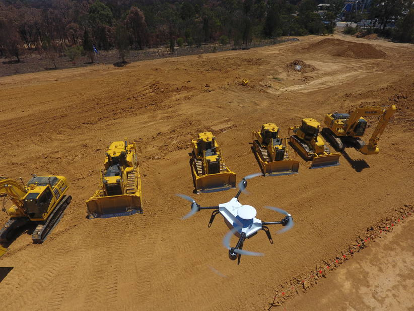 Komatsu takes an aerial view of site surveying