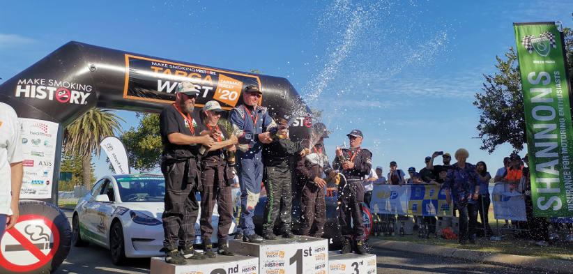 The winners on the podium of Targa West rally in WA