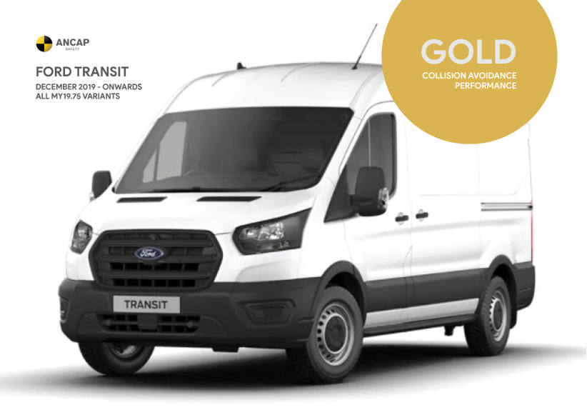 Ford Transit awarded gold collision avoidance performance award by ANCAP