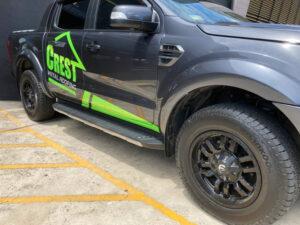 Crest Metal Roofing vehicle fleet branding Hankook Dynapro AT2 tyres