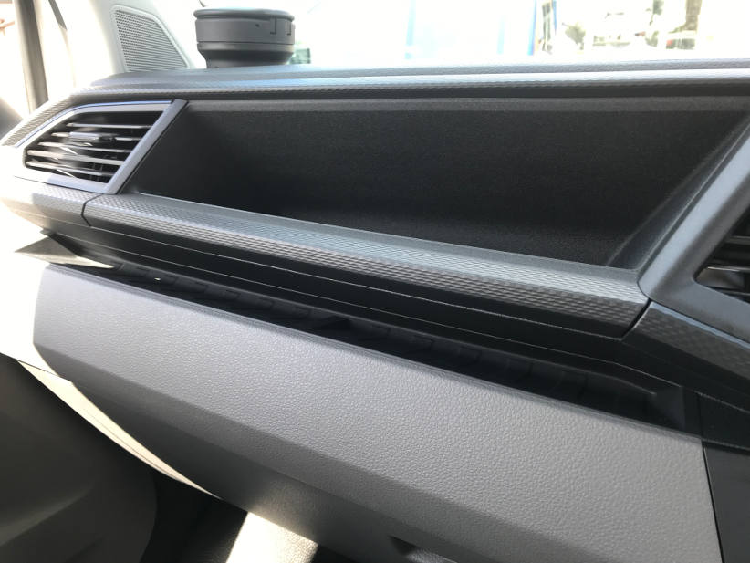 Storage and cup holders in the VW transporter van