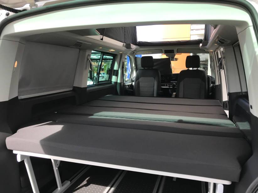 sleeping area in 2021 VW Kombi transporter 61