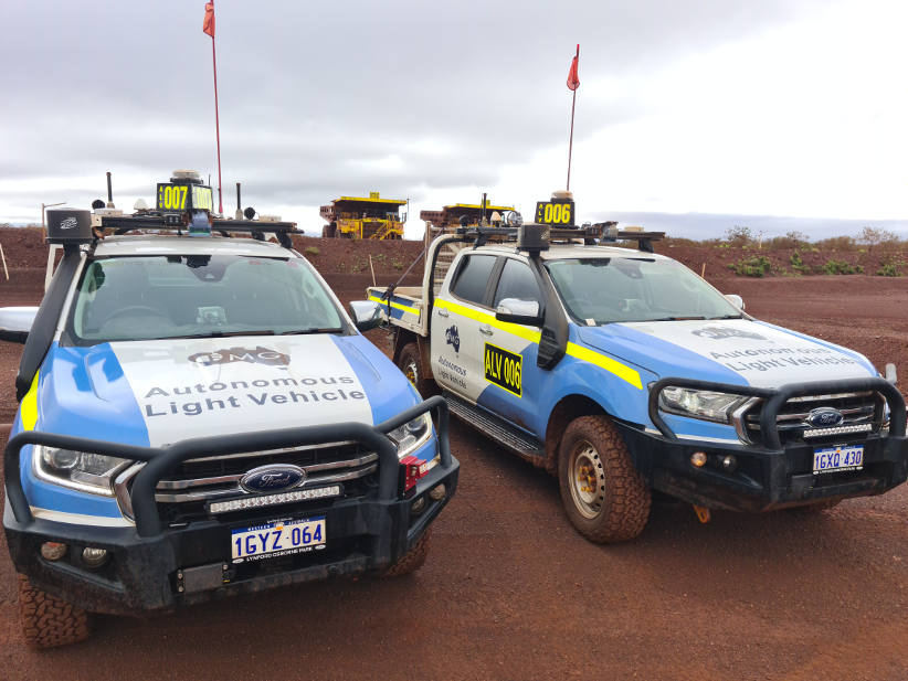 Ford Ranger autonomous driving light vehicle in Fortescue mine site